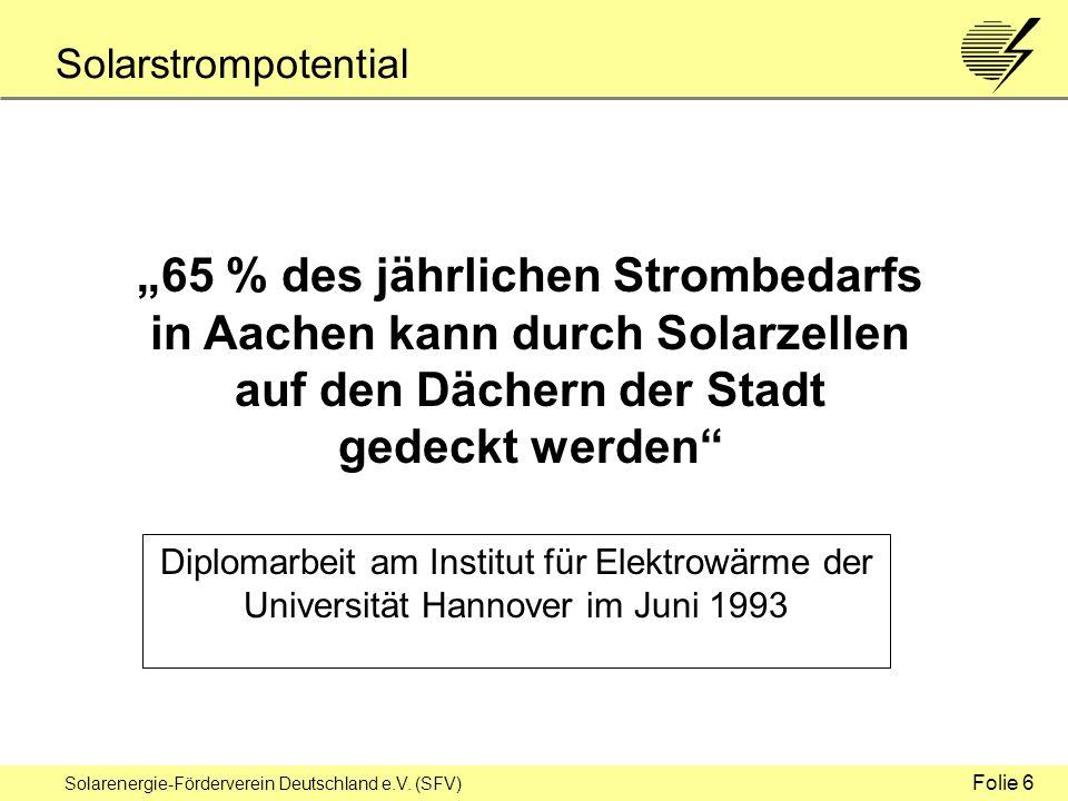 Solarenergie-Förderverein Deutschland e.V.(SFV) 100 Prozent Erneuerbare Energien sind möglich.
