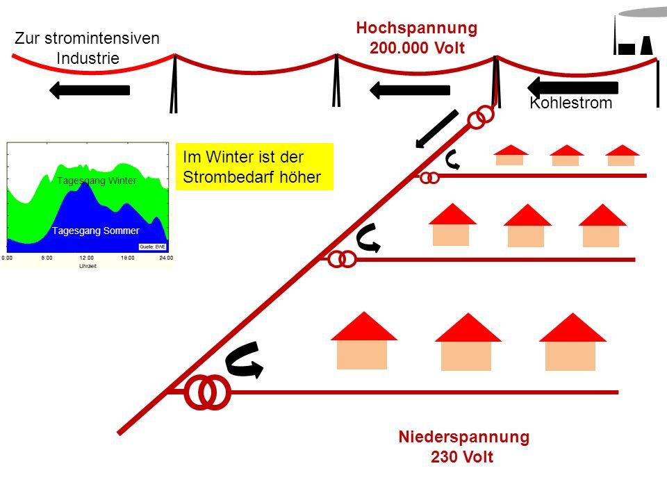 Hochspannung 200.000 Volt Kohlestrom Niederspannung 230 Volt Zur stromintensiven Industrie Im Winter ist der Strombedarf höher Tagesgang Winter Tagesg