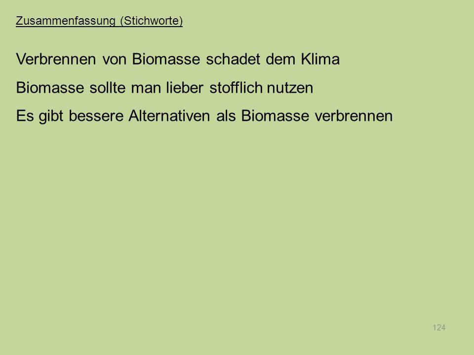 124 Verbrennen von Biomasse schadet dem Klima Biomasse sollte man lieber stofflich nutzen Es gibt bessere Alternativen als Biomasse verbrennen Zusamme