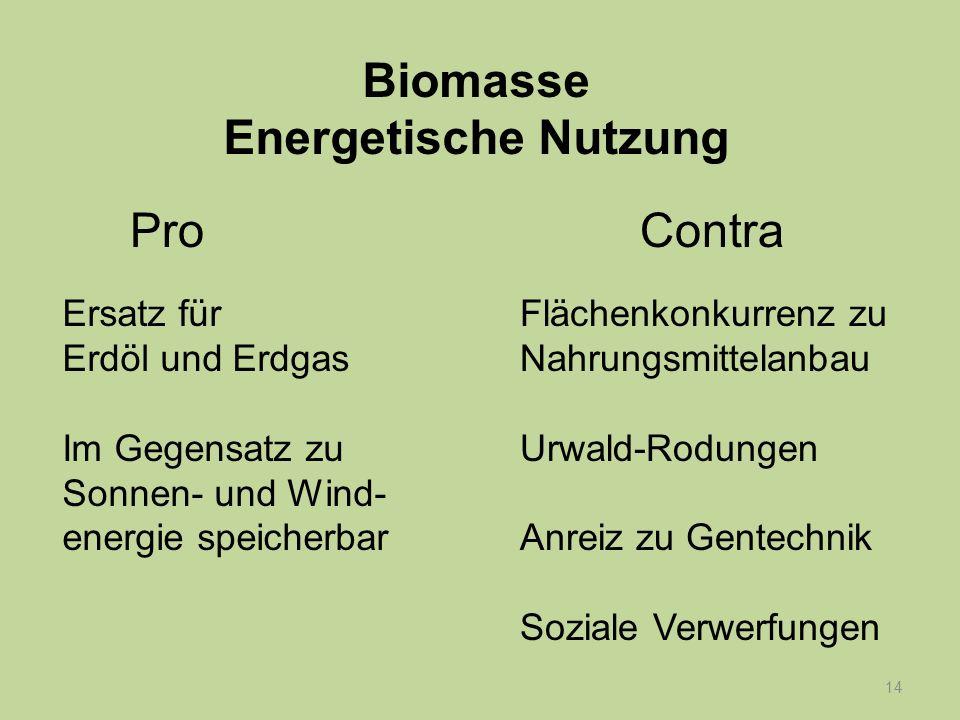 14 Ersatz für Erdöl und Erdgas Im Gegensatz zu Sonnen- und Wind- energie speicherbar Flächenkonkurrenz zu Nahrungsmittelanbau Urwald-Rodungen Anreiz z