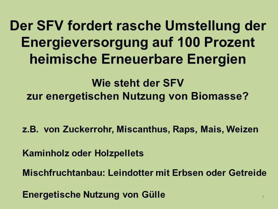 8 Der SFV fordert rasche Umstellung der Energieversorgung auf 100 Prozent heimische Erneuerbare Energien Wie steht der SFV zur energetischen Nutzung von Biomasse.