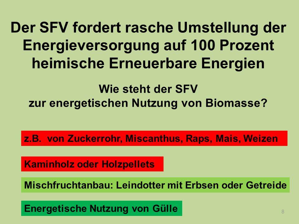 8 Der SFV fordert rasche Umstellung der Energieversorgung auf 100 Prozent heimische Erneuerbare Energien Wie steht der SFV zur energetischen Nutzung v