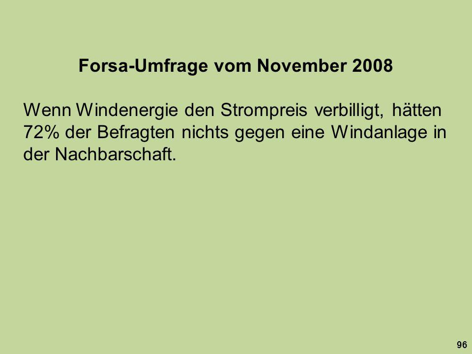 Forsa-Umfrage vom November 2008 Wenn Windenergie den Strompreis verbilligt, hätten 72% der Befragten nichts gegen eine Windanlage in der Nachbarschaft