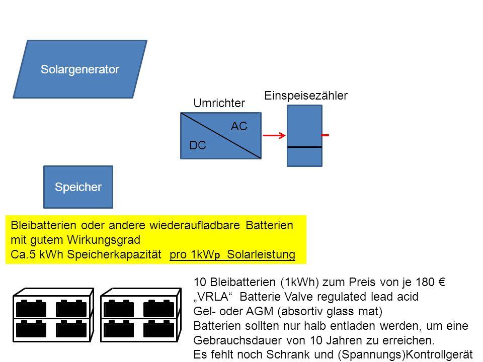 Speicher DC AC Solargenerator Umrichter Einspeisezähler Bleibatterien oder andere wiederaufladbare Batterien mit gutem Wirkungsgrad Ca.5 kWh Speicherk