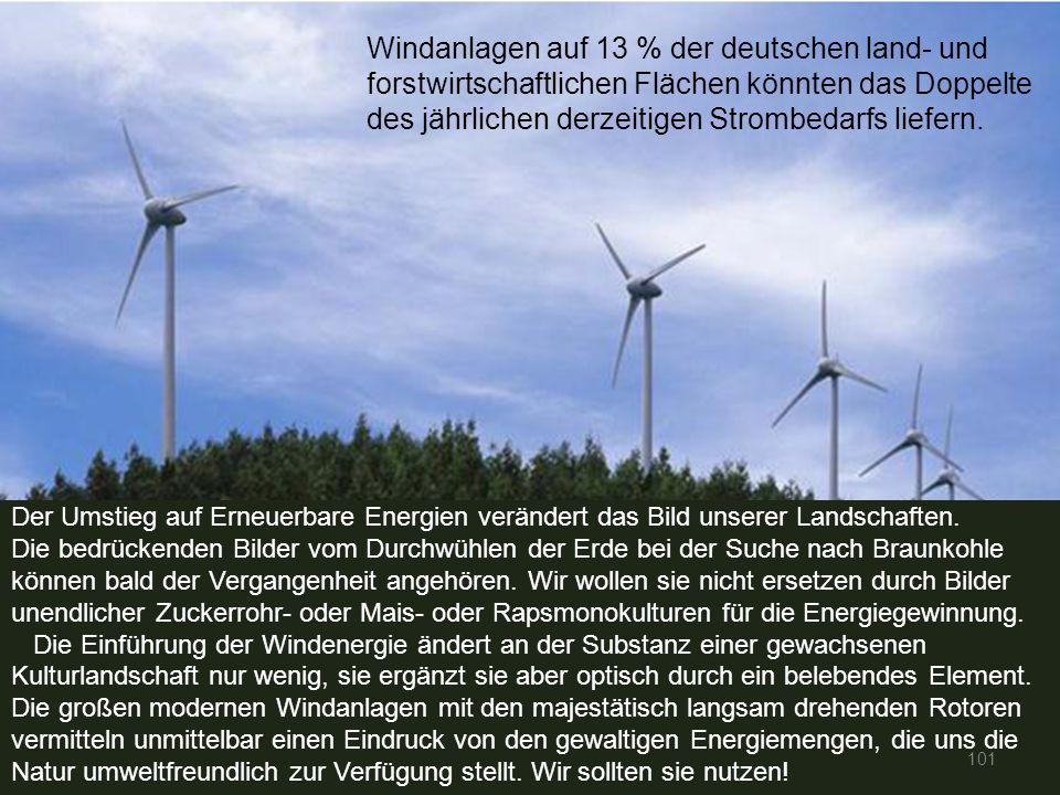 101 Windanlagen auf 13 % der deutschen land- und forstwirtschaftlichen Flächen könnten das Doppelte des jährlichen derzeitigen Strombedarfs liefern. D
