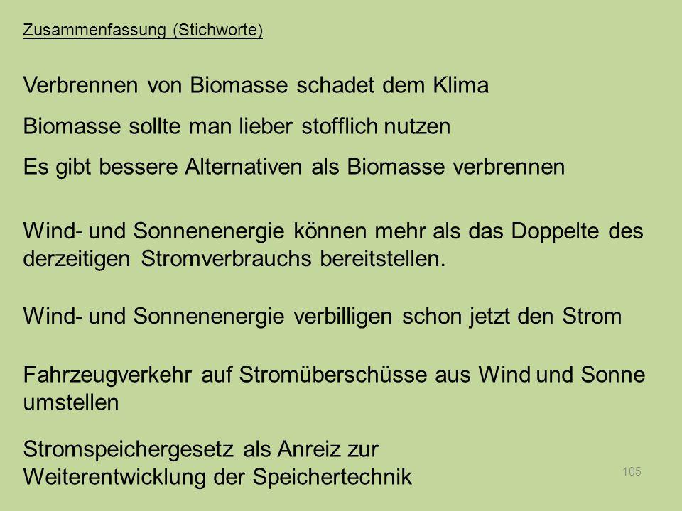 105 Verbrennen von Biomasse schadet dem Klima Biomasse sollte man lieber stofflich nutzen Es gibt bessere Alternativen als Biomasse verbrennen Wind- u
