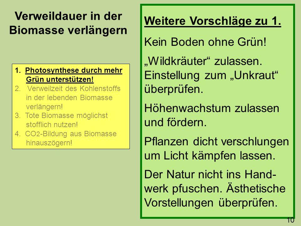 Weitere Vorschläge zu 1. Kein Boden ohne Grün! Wildkräuter zulassen. Einstellung zum Unkraut überprüfen. Höhenwachstum zulassen und fördern. Pflanzen