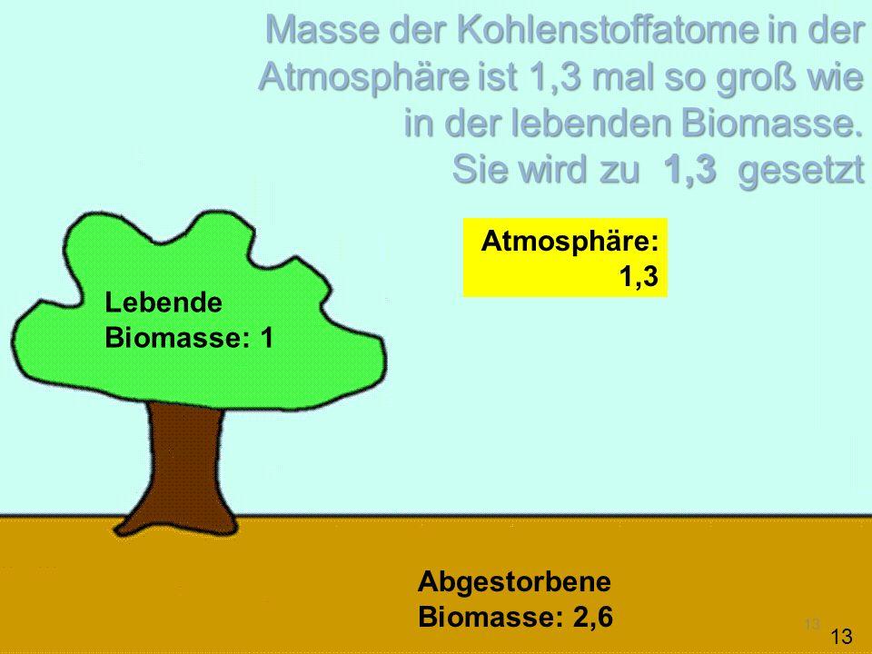 13 Lebende Biomasse: 1 Abgestorbene Biomasse: 2,6 Atmosphäre: 1,3 Masse der Kohlenstoffatome in der Atmosphäre ist 1,3 mal so groß wie in der lebenden