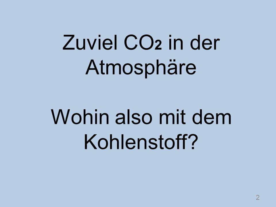 Zuviel CO 2 in der Atmosphäre Wohin also mit dem Kohlenstoff? 2