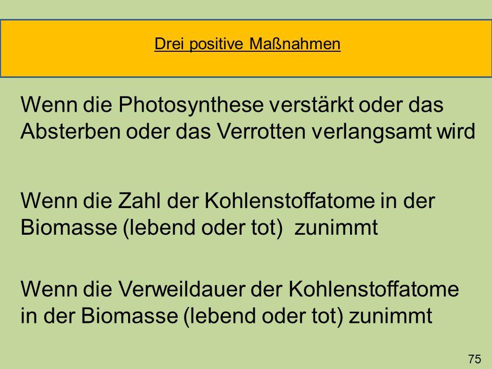 Wenn die Zahl der Kohlenstoffatome in der Biomasse (lebend oder tot) zunimmt Wenn die Verweildauer der Kohlenstoffatome in der Biomasse (lebend oder t