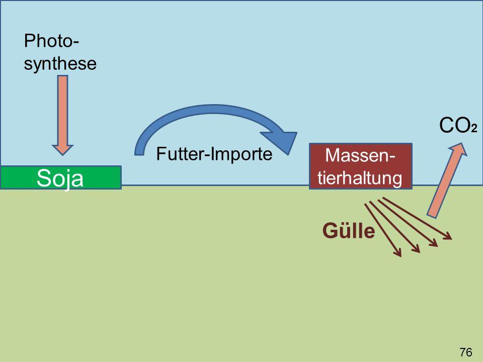 76 Soja Photo- synthese Futter-Importe Massen- tierhaltung Gülle CO 2