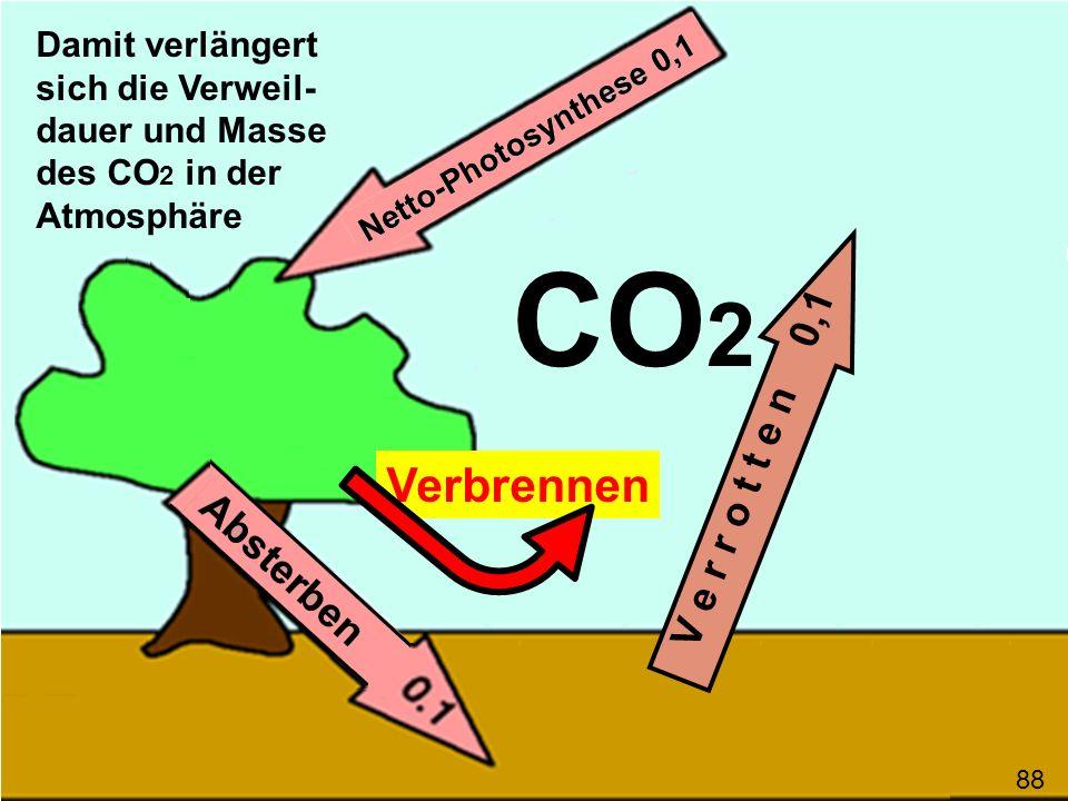 Verbrennen V e r r o t t e n 0,1 CO 2 Damit verlängert sich die Verweil- dauer und Masse des CO 2 in der Atmosphäre 88