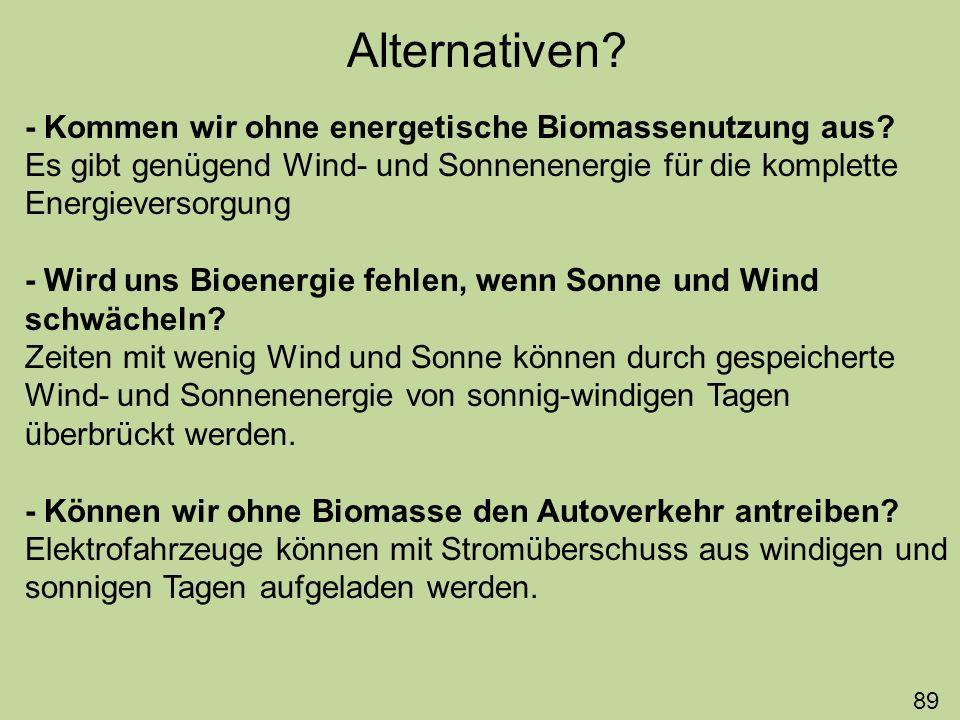Alternativen? - Kommen wir ohne energetische Biomassenutzung aus? Es gibt genügend Wind- und Sonnenenergie für die komplette Energieversorgung - Wird