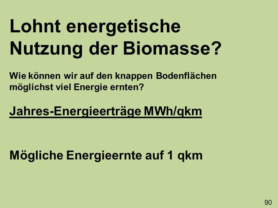 Lohnt energetische Nutzung der Biomasse? Wie können wir auf den knappen Bodenflächen möglichst viel Energie ernten? Jahres-Energieerträge MWh/qkm Mögl