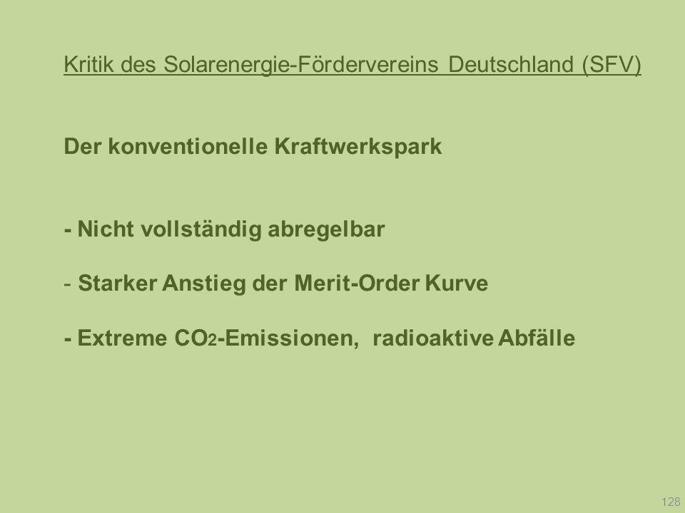 Kritik des Solarenergie-Fördervereins Deutschland (SFV) Der konventionelle Kraftwerkspark - Nicht vollständig abregelbar - Starker Anstieg der Merit-O