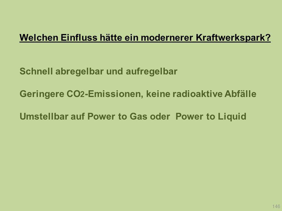 Welchen Einfluss hätte ein modernerer Kraftwerkspark? Schnell abregelbar und aufregelbar Geringere CO 2 -Emissionen, keine radioaktive Abfälle Umstell