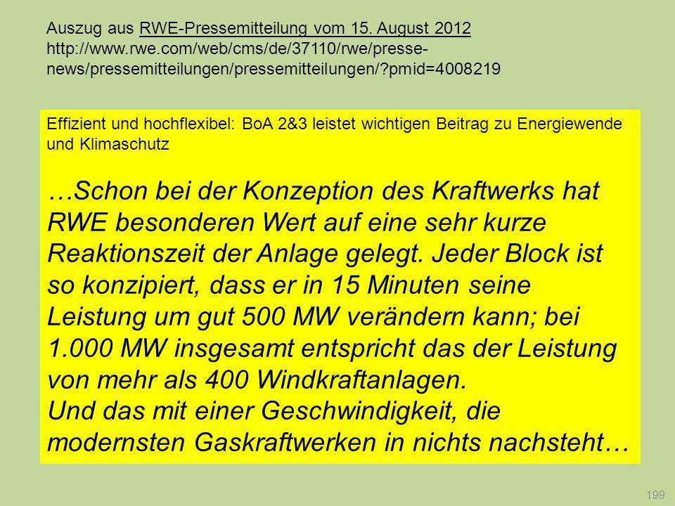 199 Effizient und hochflexibel: BoA 2&3 leistet wichtigen Beitrag zu Energiewende und Klimaschutz …Schon bei der Konzeption des Kraftwerks hat RWE bes