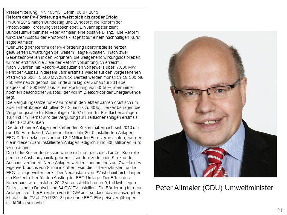 Pressemitteilung Nr. 103/13 | Berlin, 08.07.2013 Reform der PV-Förderung erweist sich als großer Erfolg Im Juni 2012 haben Bundestag und Bundesrat die