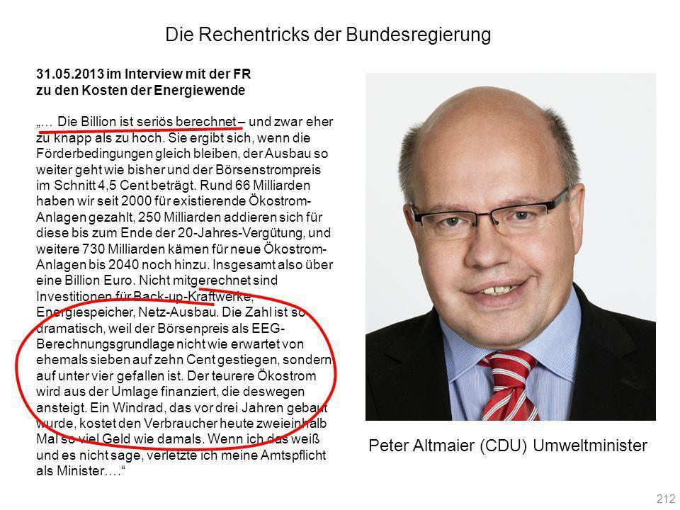 Peter Altmaier (CDU) Umweltminister 31.05.2013 im Interview mit der FR zu den Kosten der Energiewende … Die Billion ist seriös berechnet – und zwar eh