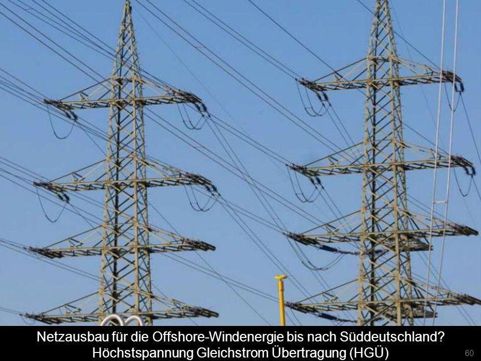 60 Netzausbau für die Offshore-Windenergie bis nach Süddeutschland? Höchstspannung Gleichstrom Übertragung (HGÜ) 60