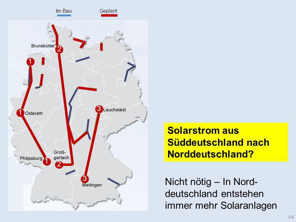 Im BauGeplant 1 1 1 2 3 2 3 64 Solarstrom aus Süddeutschland nach Norddeutschland? Nicht nötig – In Nord- deutschland entstehen immer mehr Solaranlage
