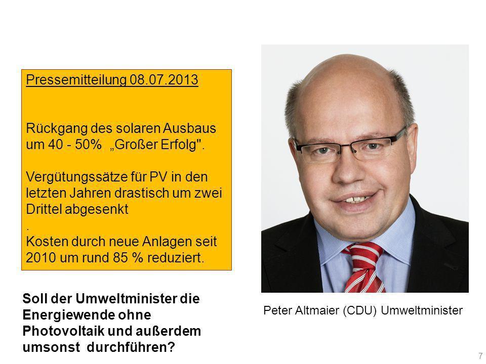 Peter Altmaier (CDU) Umweltminister Pressemitteilung 08.07.2013 Rückgang des solaren Ausbaus um 40 - 50% Großer Erfolg