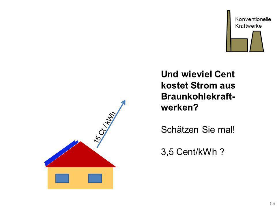 15 Ct / kWh Konventionelle Kraftwerke Und wieviel Cent kostet Strom aus Braunkohlekraft- werken? Schätzen Sie mal! 3,5 Cent/kWh ? 89