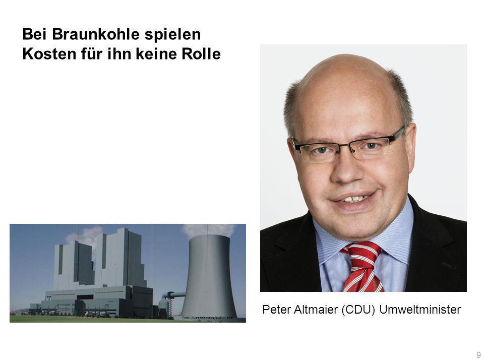 Bei Braunkohle spielen Kosten für ihn keine Rolle Peter Altmaier (CDU) Umweltminister 9 Foto: Ausschnitt aus RWE-Plakat
