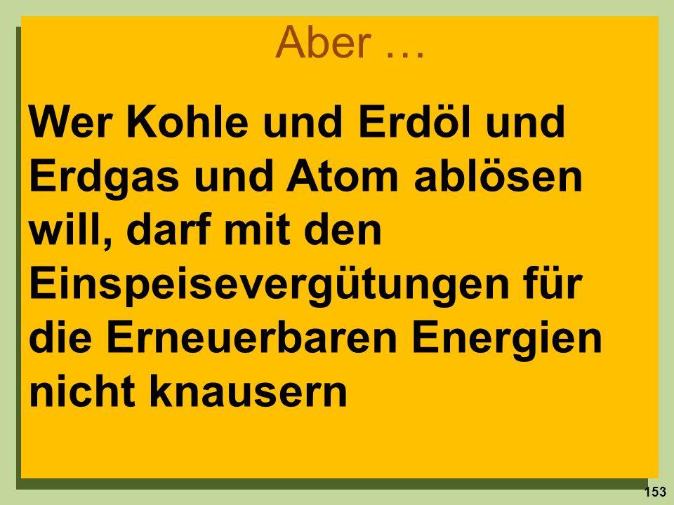 Wer Kohle und Erdöl und Erdgas und Atom ablösen will, darf mit den Einspeisevergütungen für die Erneuerbaren Energien nicht knausern Aber … 153