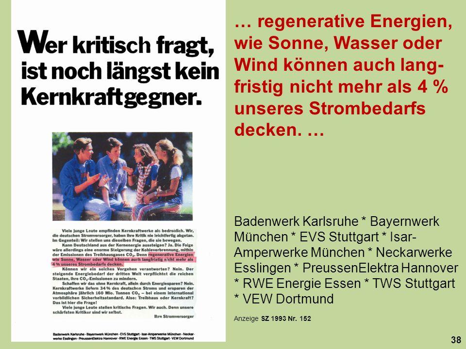 … regenerative Energien, wie Sonne, Wasser oder Wind können auch lang- fristig nicht mehr als 4 % unseres Strombedarfs decken. … 38 Badenwerk Karlsruh