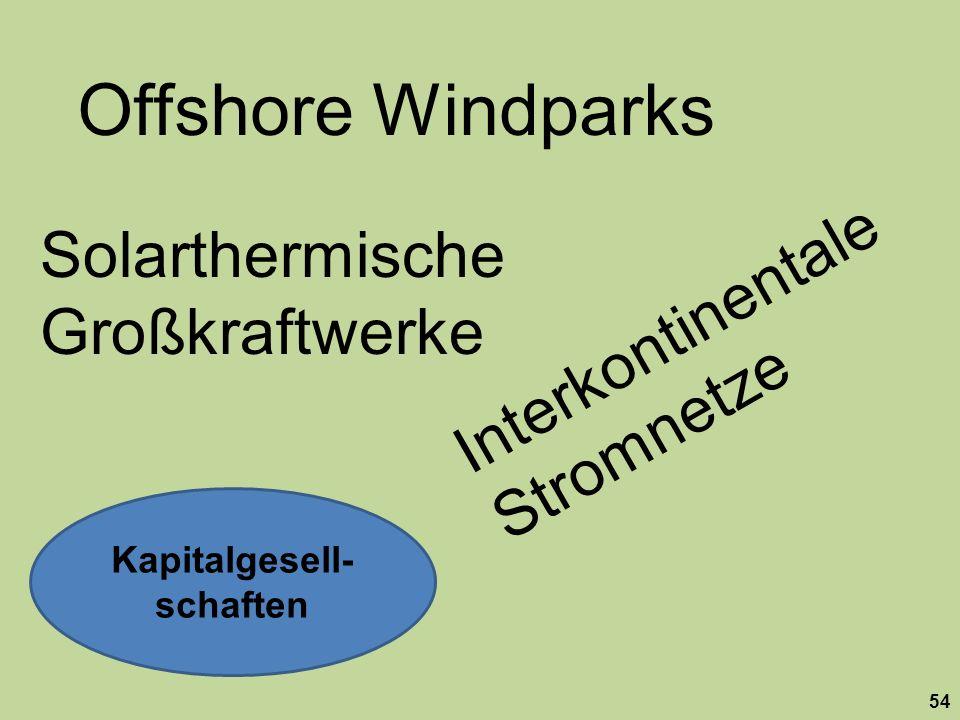 54 Kapitalgesell- schaften Offshore Windparks Solarthermische Großkraftwerke Interkontinentale Stromnetze