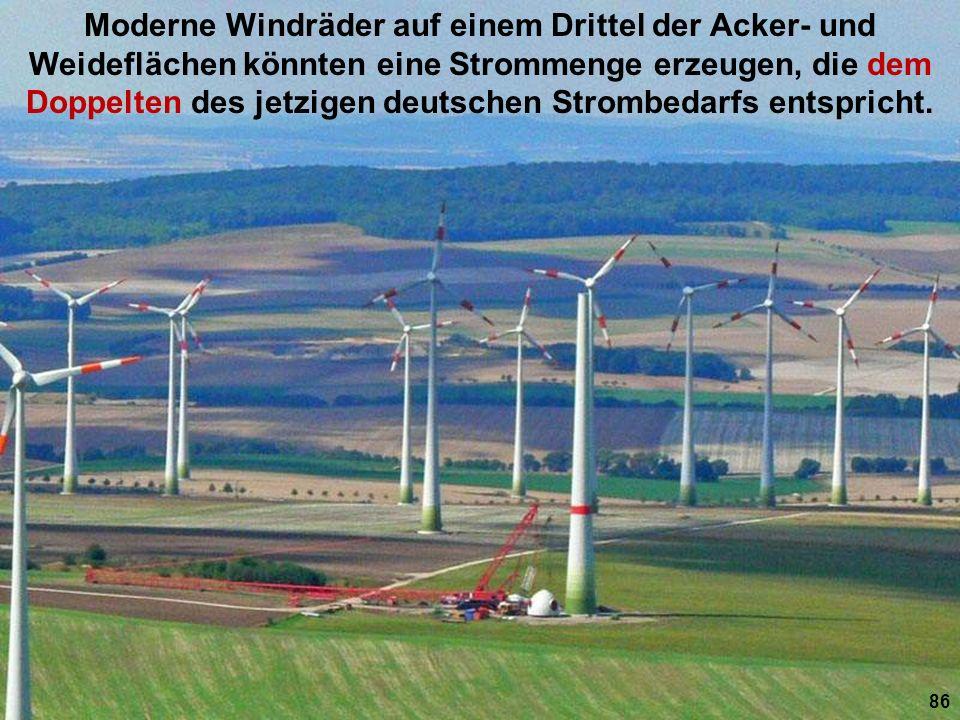 Moderne Windräder auf einem Drittel der Acker- und Weideflächen könnten eine Strommenge erzeugen, die dem Doppelten des jetzigen deutschen Strombedarf