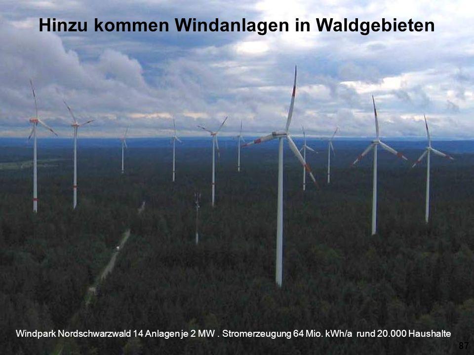 Windpark Nordschwarzwald 14 Anlagen je 2 MW. Stromerzeugung 64 Mio. kWh/a rund 20.000 Haushalte 87 Hinzu kommen Windanlagen in Waldgebieten