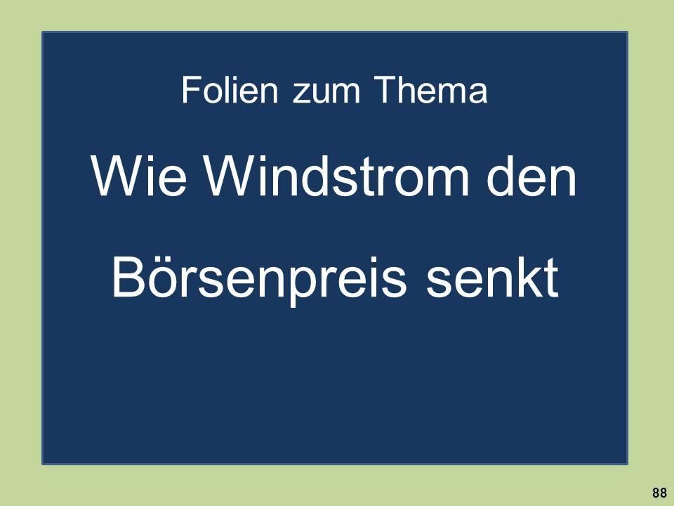 Es gibt im Binnenland viel mehr Flächen für die Windenergie als notwendig! 88 Folien zum Thema Wie Windstrom den Börsenpreis senkt