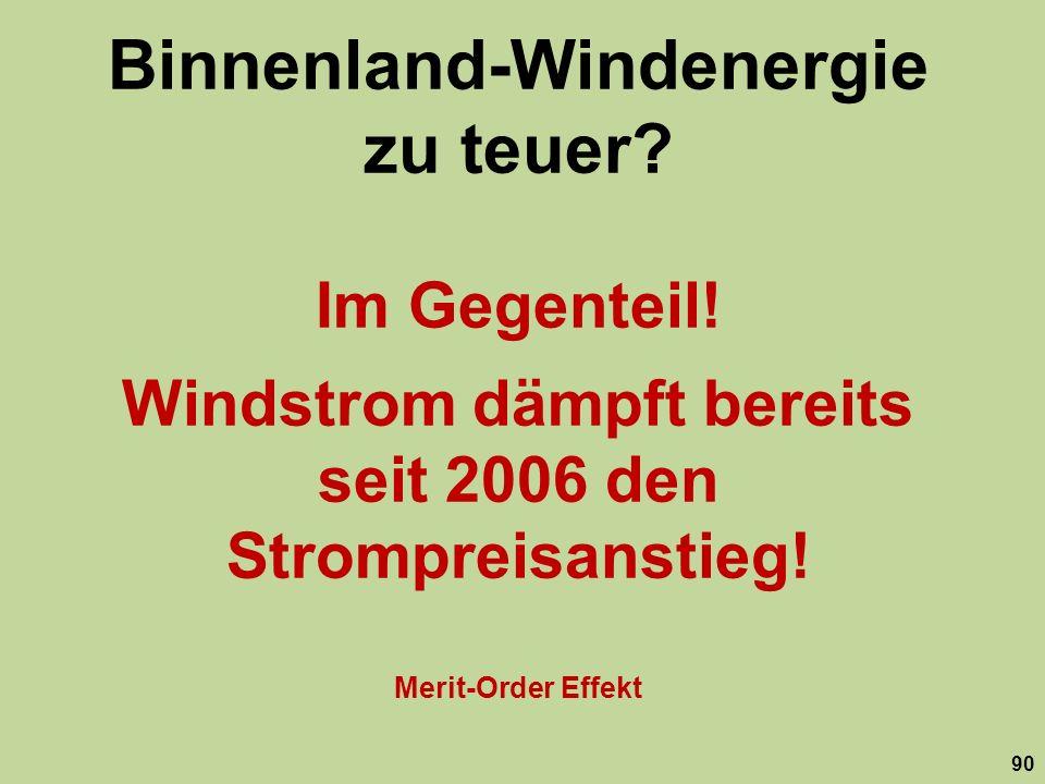 Binnenland-Windenergie zu teuer? Im Gegenteil! Windstrom dämpft bereits seit 2006 den Strompreisanstieg! Merit-Order Effekt 90