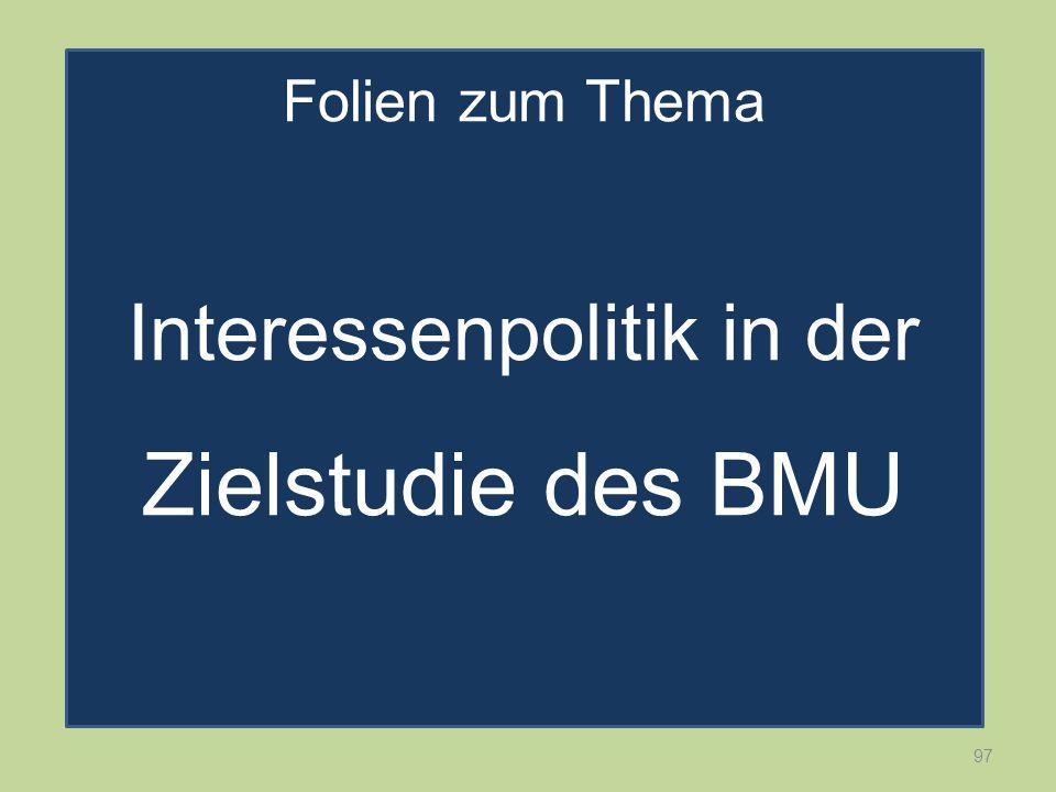 97 Folien zum Thema Interessenpolitik in der Zielstudie des BMU