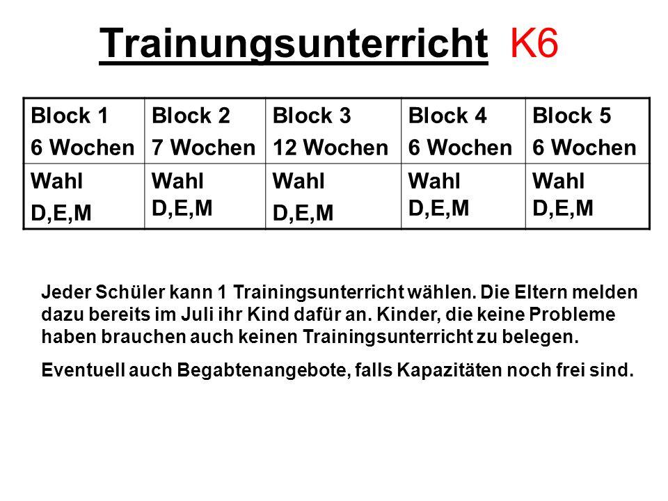 Trainungsunterricht K6 Block 1 6 Wochen Block 2 7 Wochen Block 3 12 Wochen Block 4 6 Wochen Block 5 6 Wochen Wahl D,E,M Wahl D,E,M Wahl D,E,M Wahl D,E,M Jeder Schüler kann 1 Trainingsunterricht wählen.