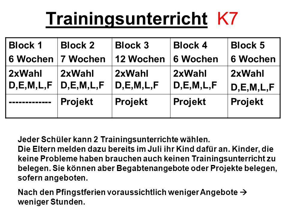 Trainingsunterricht K7 Block 1 6 Wochen Block 2 7 Wochen Block 3 12 Wochen Block 4 6 Wochen Block 5 6 Wochen 2xWahl D,E,M,L,F 2xWahl D,E,M,L,F -------------Projekt Jeder Schüler kann 2 Trainingsunterrichte wählen.