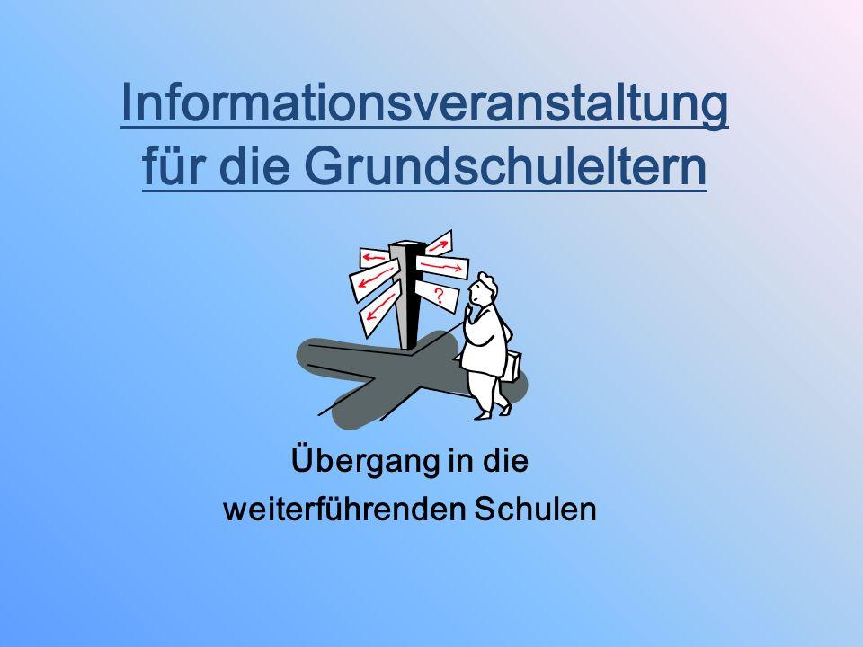 Informationsveranstaltung für die Grundschuleltern Übergang in die weiterführenden Schulen