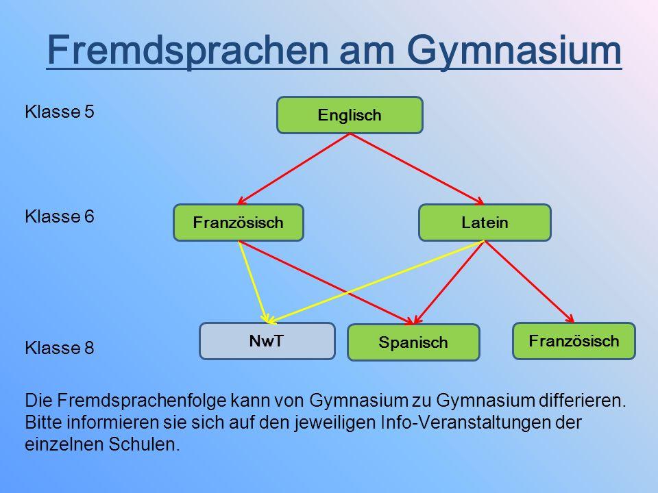 Fremdsprachen am Gymnasium Klasse 5 Klasse 6 Klasse 8 Die Fremdsprachenfolge kann von Gymnasium zu Gymnasium differieren. Bitte informieren sie sich a