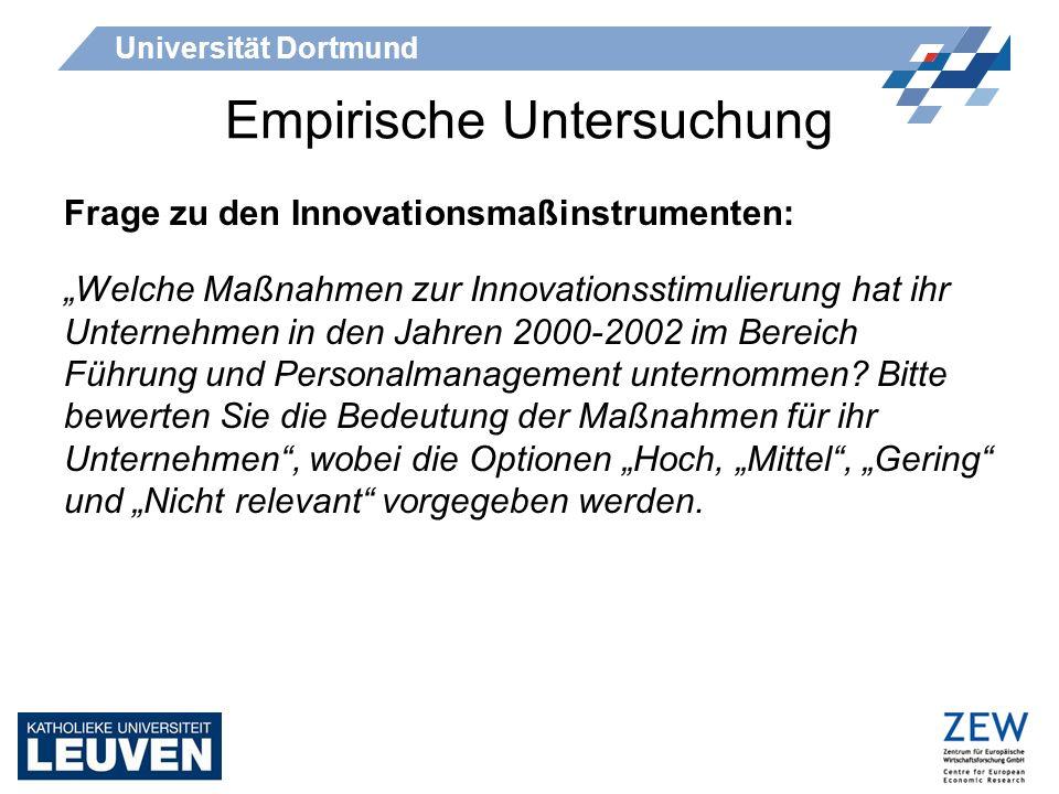 Universität Dortmund Empirische Untersuchung Frage zu den Innovationsmaßinstrumenten: Welche Maßnahmen zur Innovationsstimulierung hat ihr Unternehmen