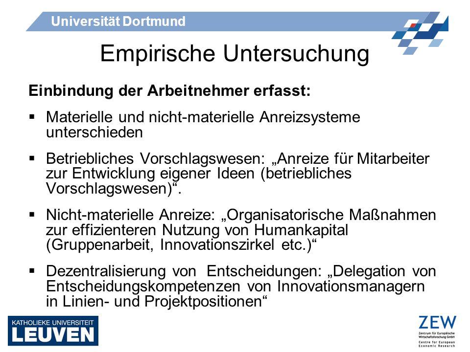 Universität Dortmund Empirische Untersuchung Einbindung der Arbeitnehmer erfasst: Materielle und nicht-materielle Anreizsysteme unterschieden Betriebl