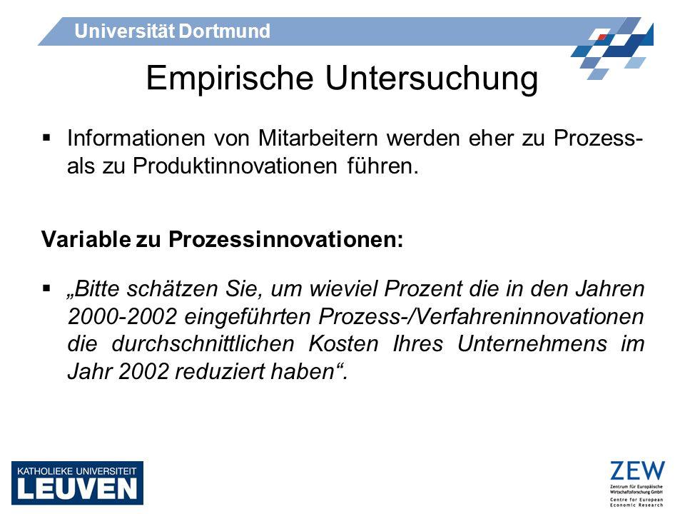 Universität Dortmund Empirische Untersuchung Informationen von Mitarbeitern werden eher zu Prozess- als zu Produktinnovationen führen. Variable zu Pro
