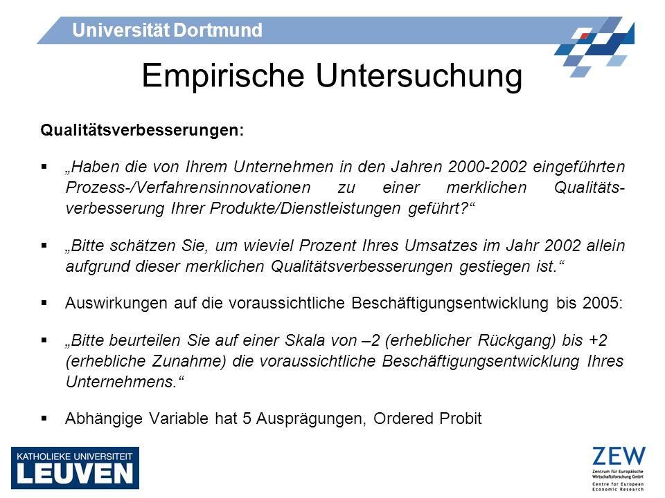 Universität Dortmund Empirische Untersuchung Qualitätsverbesserungen: Haben die von Ihrem Unternehmen in den Jahren 2000-2002 eingeführten Prozess-/Ve