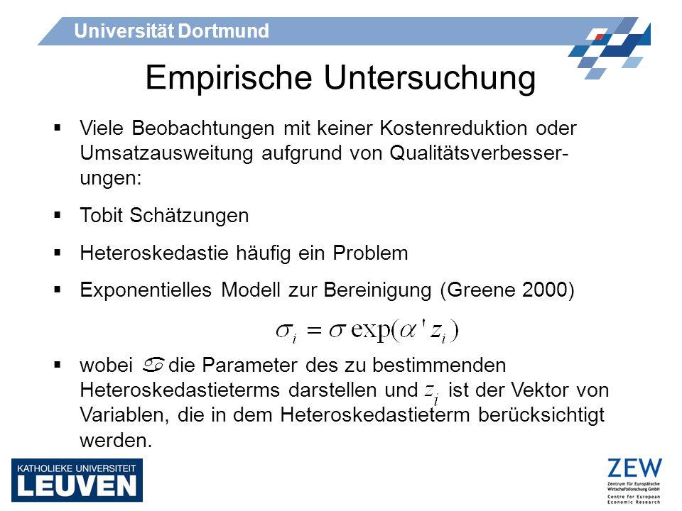 Universität Dortmund Viele Beobachtungen mit keiner Kostenreduktion oder Umsatzausweitung aufgrund von Qualitätsverbesser- ungen: Tobit Schätzungen He