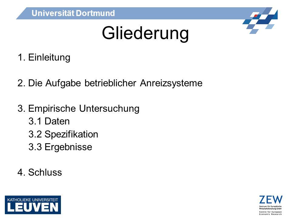 Universität Dortmund Gliederung 1. Einleitung 2. Die Aufgabe betrieblicher Anreizsysteme 3. Empirische Untersuchung 3.1 Daten 3.2 Spezifikation 3.3 Er