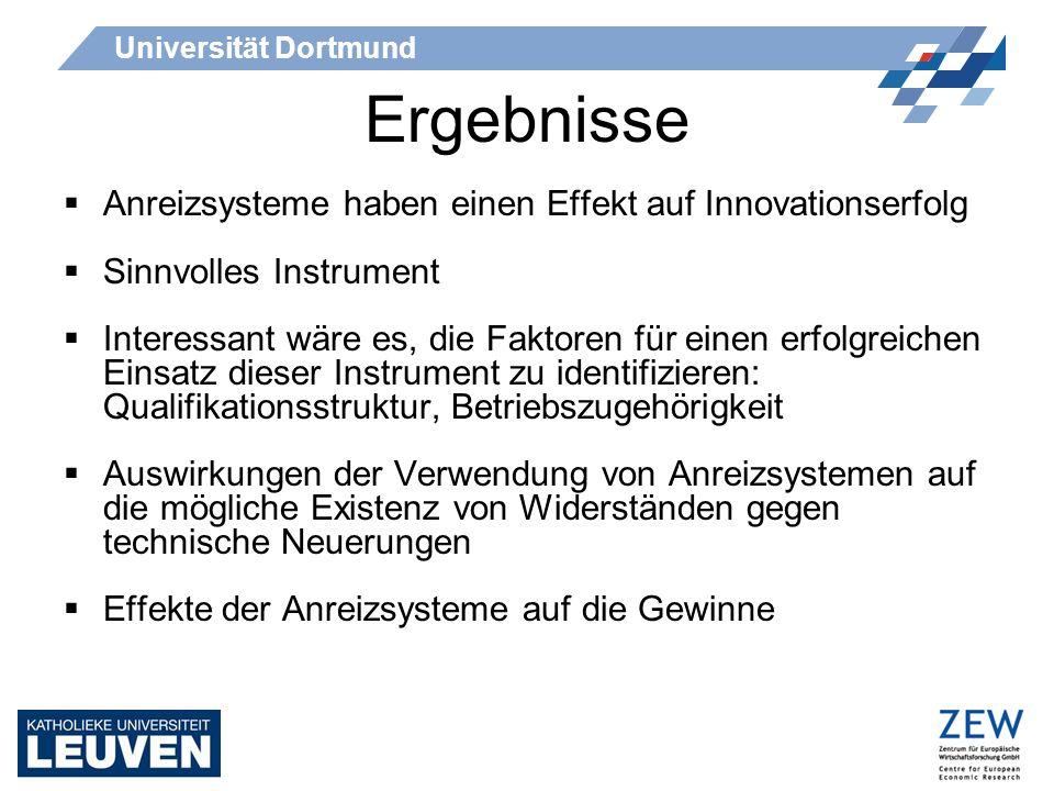 Universität Dortmund Ergebnisse Anreizsysteme haben einen Effekt auf Innovationserfolg Sinnvolles Instrument Interessant wäre es, die Faktoren für ein