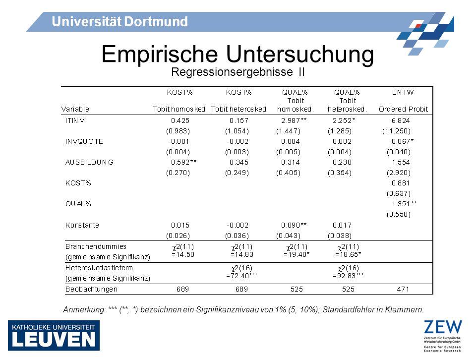 Universität Dortmund Empirische Untersuchung Regressionsergebnisse II Anmerkung: *** (**, *) bezeichnen ein Signifikanzniveau von 1% (5, 10%); Standar