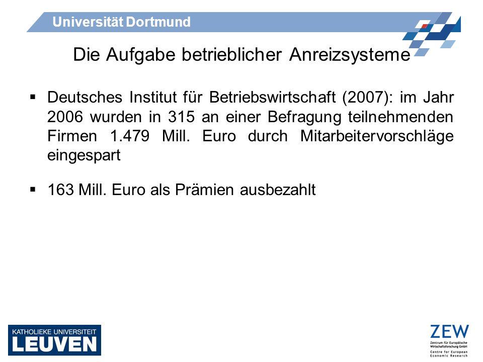 Universität Dortmund Die Aufgabe betrieblicher Anreizsysteme Deutsches Institut für Betriebswirtschaft (2007): im Jahr 2006 wurden in 315 an einer Bef