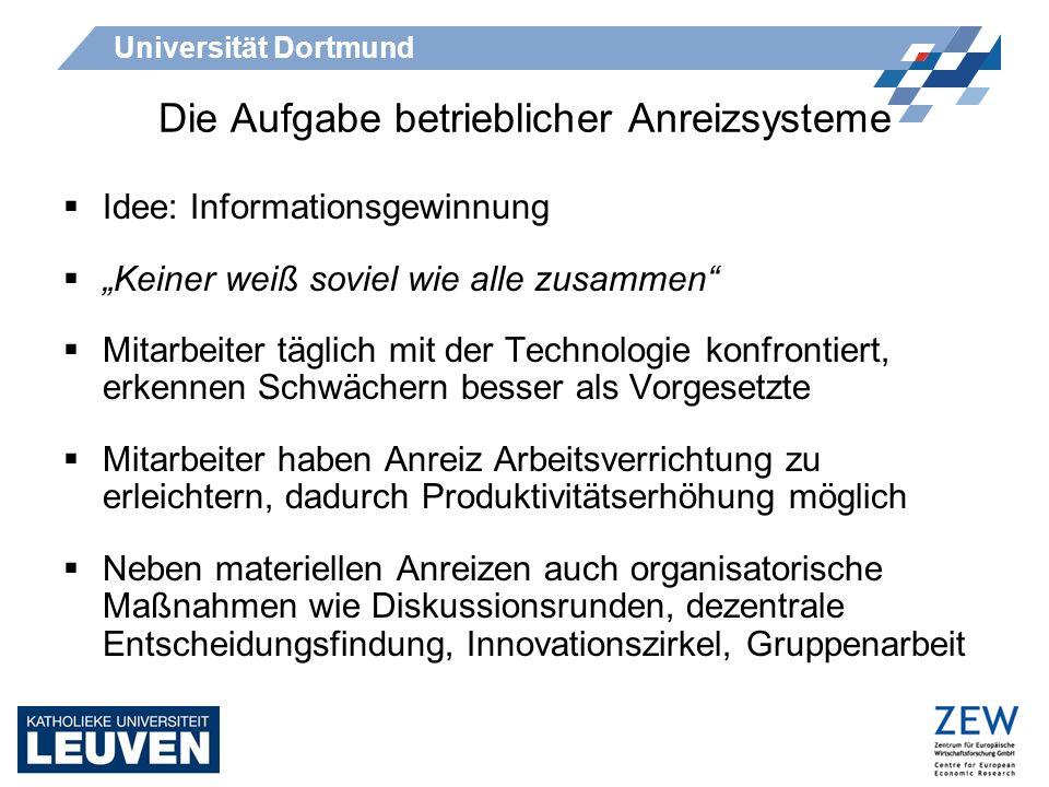 Universität Dortmund Die Aufgabe betrieblicher Anreizsysteme Aghion und Tirole (1997), Zábojník (2002) grundsätzlich zu Organisationsaufbau: Dezentrale Entscheidungsfindung muss abwägen zwischen Vorteilen bei der Informationsgewinnung und den Nachteilen aus Kontrollverlust und eigennützigem Verhalten der Angestellten Neben Informationsgewinnung haben Vorschlagssysteme auch Qualifikationsaspekte (Dickinson 1932) Beschäftigte setzen sich mit den Arbeitsabläufen auseinander
